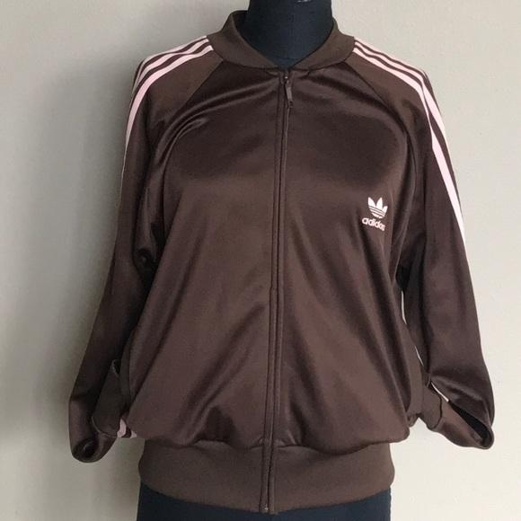 Adidas giacche & cappotti throwback giacca brownpink striscia xl poshmark